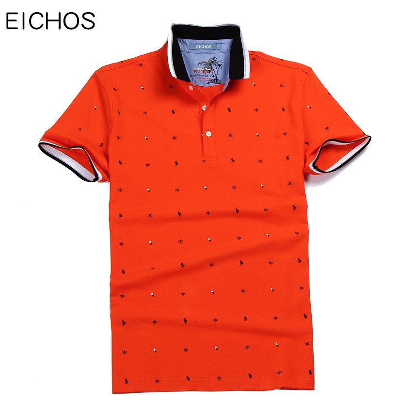 EICHOS 2018 polo shirt male Classic Fashion Button polos shirt men Short Sleeve Printed Casual Cotton polo Brand Clothing white with wine red line button design short sleeve men s polo shirt