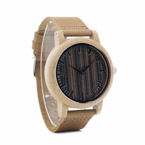 Image 4 - BOBO BIRD WH08 reloj de bambú pantalla de la esfera de madera con escala hombres cuarzo relojes con correas de cuero relojes mujer marca de lujo