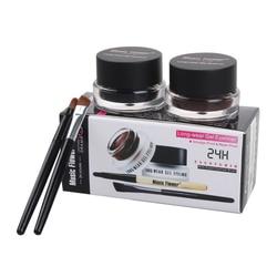 Top Quality Brand Cosmetics 2 in 1 Black And Brown Waterproof Eyeliner Gel With Brush Makeup Eye Liner Beauty Tool 1007# 2pcs