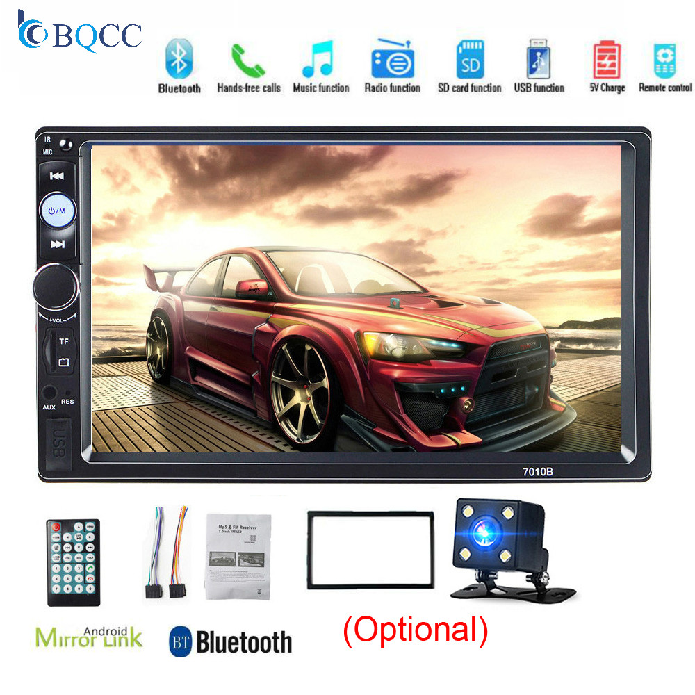 2Din Autoradio 7 Inch LCD Touch Screen Car Radio Audio Player Bluetooth 7010b Blue 2 Din Stereo Mirrorlink Rear View Camera image