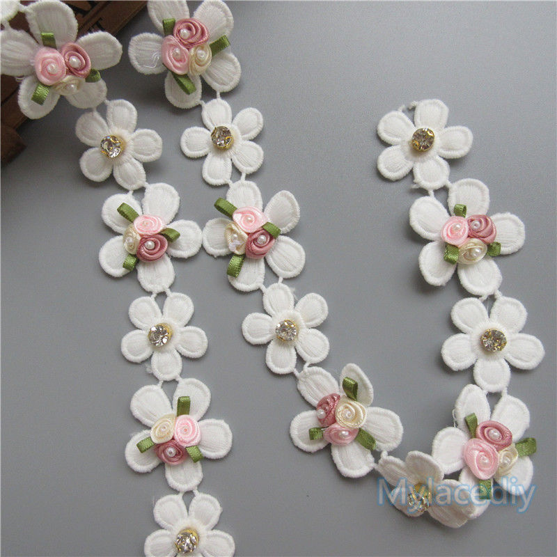 30x Vintage Pearl Flower Eyelash Embroidered Lace Trim Ribbon Handmade Applique