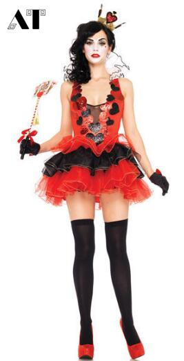 Halloween Costumes Womens Poker Red Queen of Hearts Costume Dress Carnival Party Queen Costumes