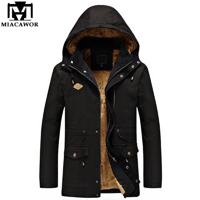 Best Offers MIACAWOR New Warm Winter Jackets Men 100% Cotton Men Parka Hooded Outwear Water washing Male Overcoat Plus Size 4XL MJ433