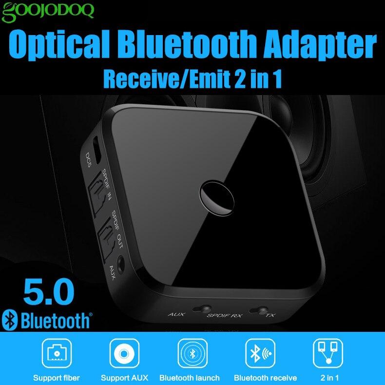 GOOJODOQ 2 en 1 Bluetooth 5.0 stéréo 3.5mm Audio musique sans fil émetteur récepteur adaptateur pour voiture casque PC téléphone Mobile