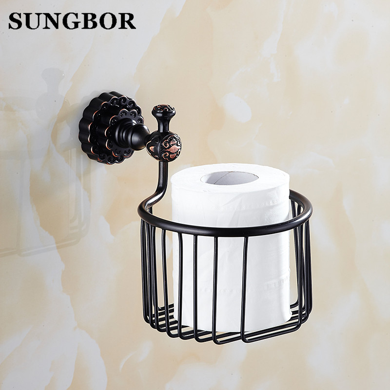 Twin Flowers Series Carving Brass Black Round Bathroom Basket Paper Holder Bathroom Accessories Toilet Vanity FA-80806