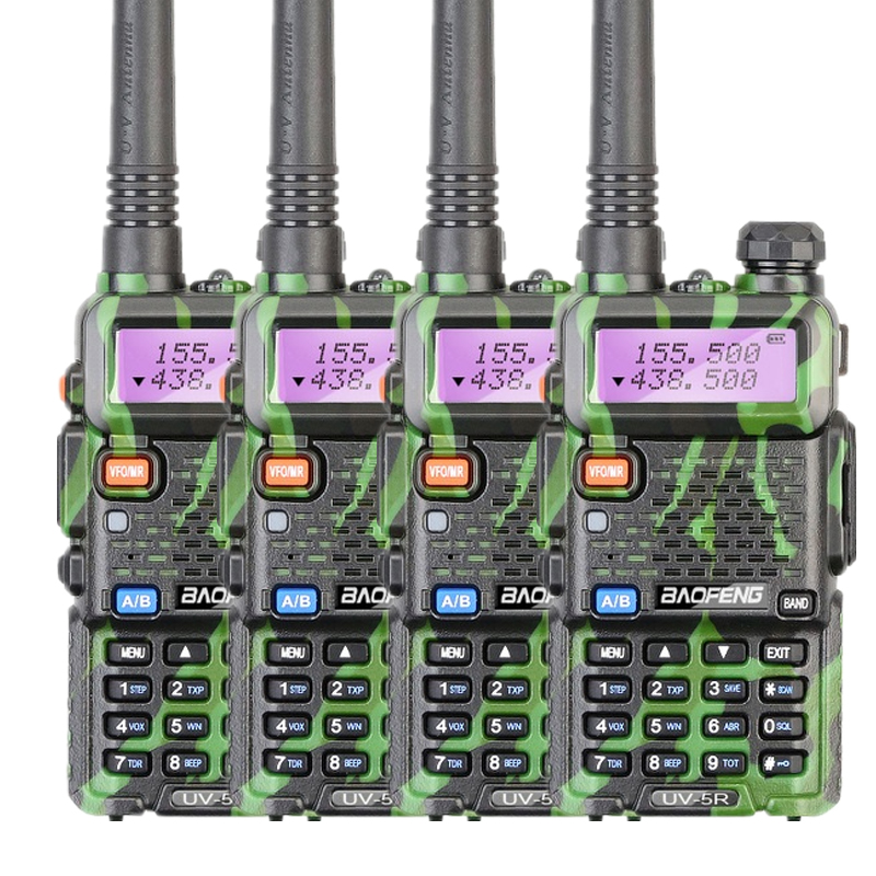 4pcs Baofeng UV 5R Two Way Radio Walkie Talkie 5W Power 1800mAh Battery 146 174MHZ 400