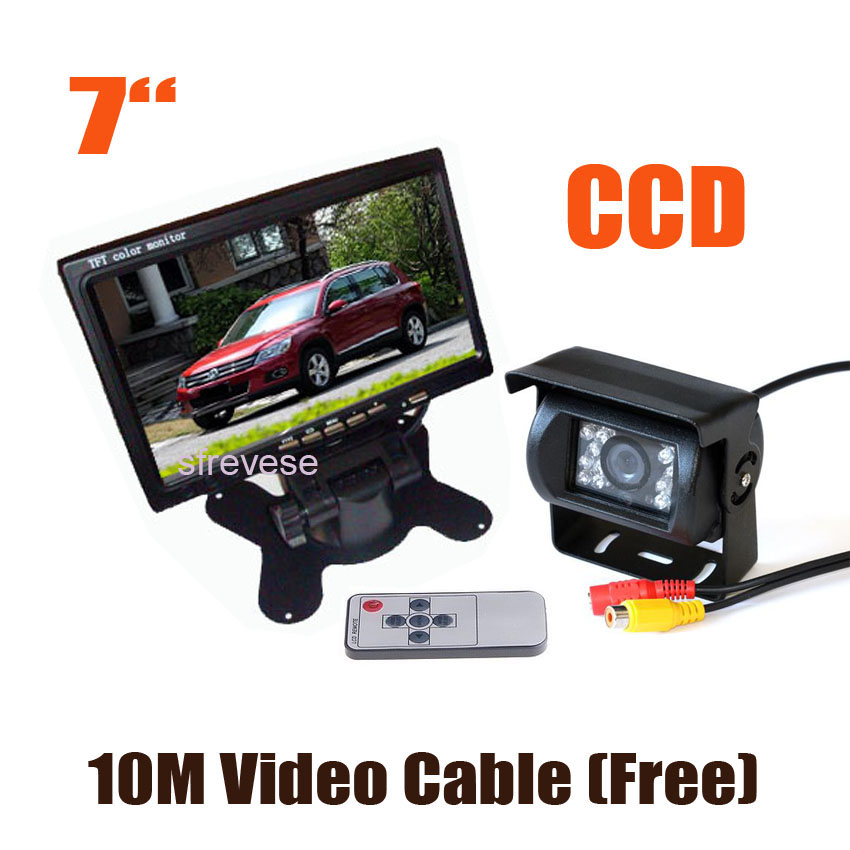 Waterproof 18 IR CCD Car Reverse Parking Backup Camera 7 LCD Monitor Car Rear View Kit