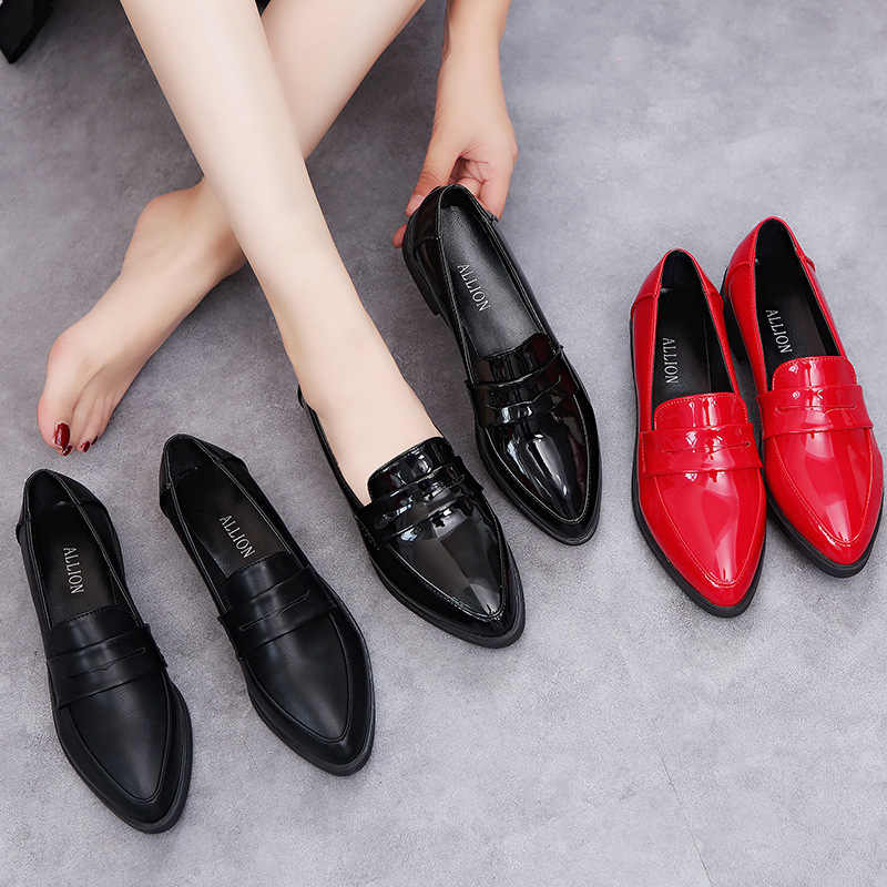 9ccea4a558c22 ... Red Pointed toe leather loafers flat heels mules platform oxford shoes  for women brand office brogues ...