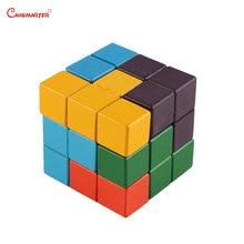 Красочные деревянные 3d кубики сомы Монтессори обучающая игрушка