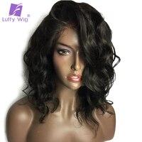 Луффи 13*6 предварительно сорвал короткие синтетические волосы на кружеве натуральные волосы Искусственные парики с ребенком волос 180% Плотн