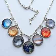1 pc New Design Solar system necklace, planet universe galaxy necklace, antique brass pendant, glass dome necklace