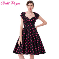 Women Dress Retro Vintage 1950s 60s Robe Vestidos Summer Dresses Plus Size Flower Print Sexy V