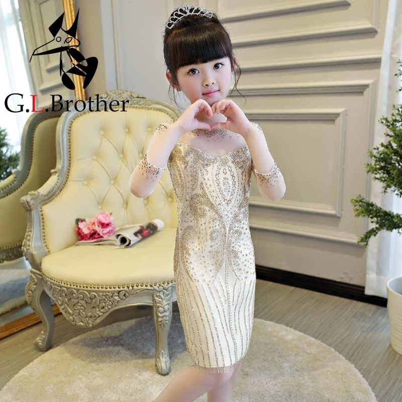 2-14 Years Luxury Gold Princess Dress Slim Kids Pageant Dresses For Party Birtyday Hollow Out Sleeve Girls Formal Dress B35 yalishi 2017 women dress office hollow out sexy party long sleeve dresses bodycon bandage ladies work slim socialite midi dress