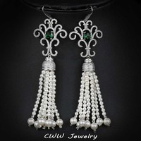 CWWZircons Vintage Tassel White And Green Cubic Zircon Stone Setting Long Drop Pearl Hanging Earrings Jewelry For Women CZ289