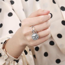 Silvology 925 Sterling Silver Figure Coin Rings Vintage Double Sided Creative Texture Korea Style for Women Retro Jewelry