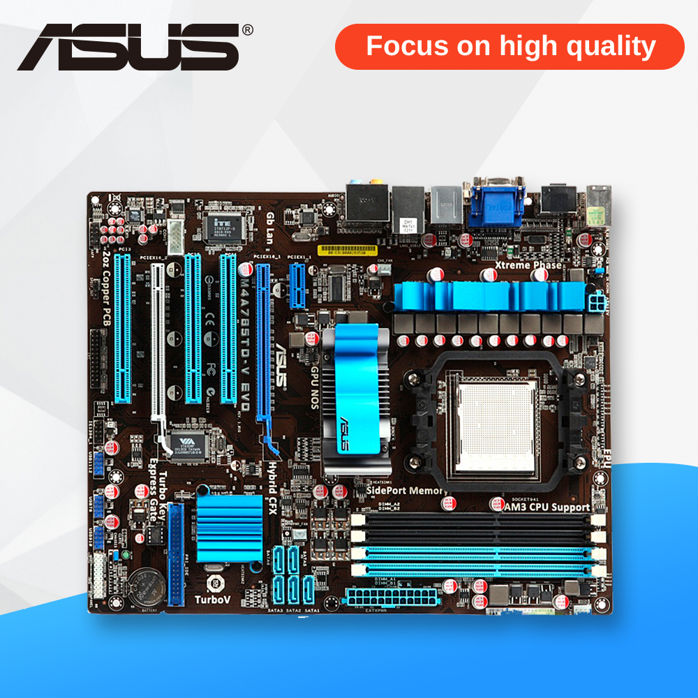 Asus M4A785TD-V EVO Desktop Motherboard 785G Socket AM3 DDR3 SATA2 USB2.0 ATX wireless data convergence