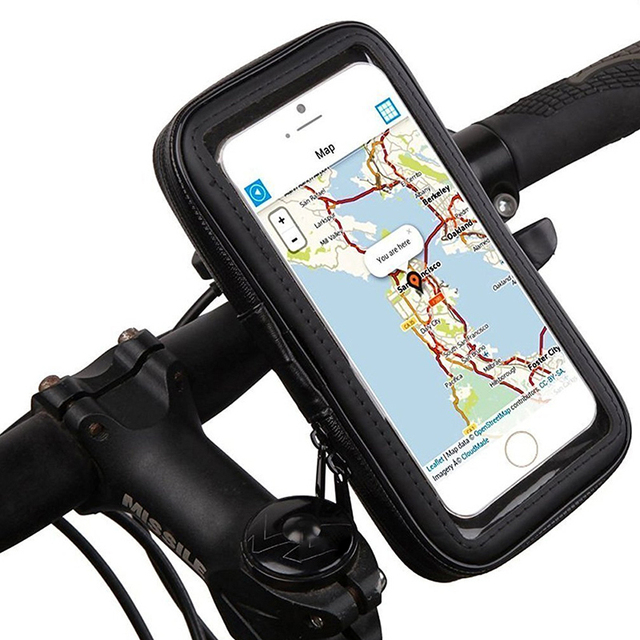Universal Waterproof Motorcycle Phone Holder Zipper Pocket Handlebar Phone Mount Stand Support Bag For Iphone X 8 7 6 Cellphone 2