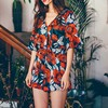 2017 Boho Red Floral Print Ruffles Playsuits Women Elegant Autumn White V Neck Jumpsuits Rompers Sexy