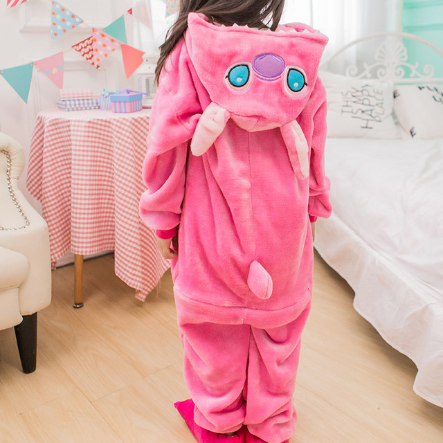 552d9a171bed Unisex Girl Boy Winter Autumn Pajamas Cos Pink Stitch Costume Children  Cosplay Animal Onesie For Kids Easy-toliet