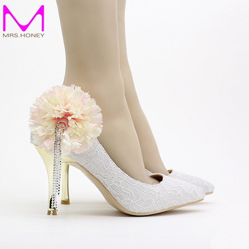 Tassel Rhinestone Bridal Dress Shoes Spring And Summer Women White Lace Shoes Pointed Toe Bouquet Party