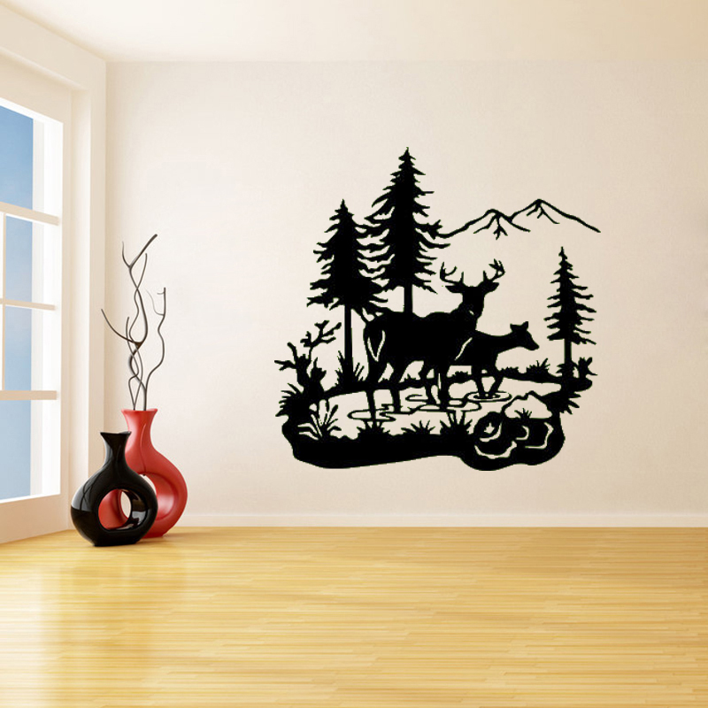 Wildlife Buck & Deer In Pond Wall Stickers for Nursery ...