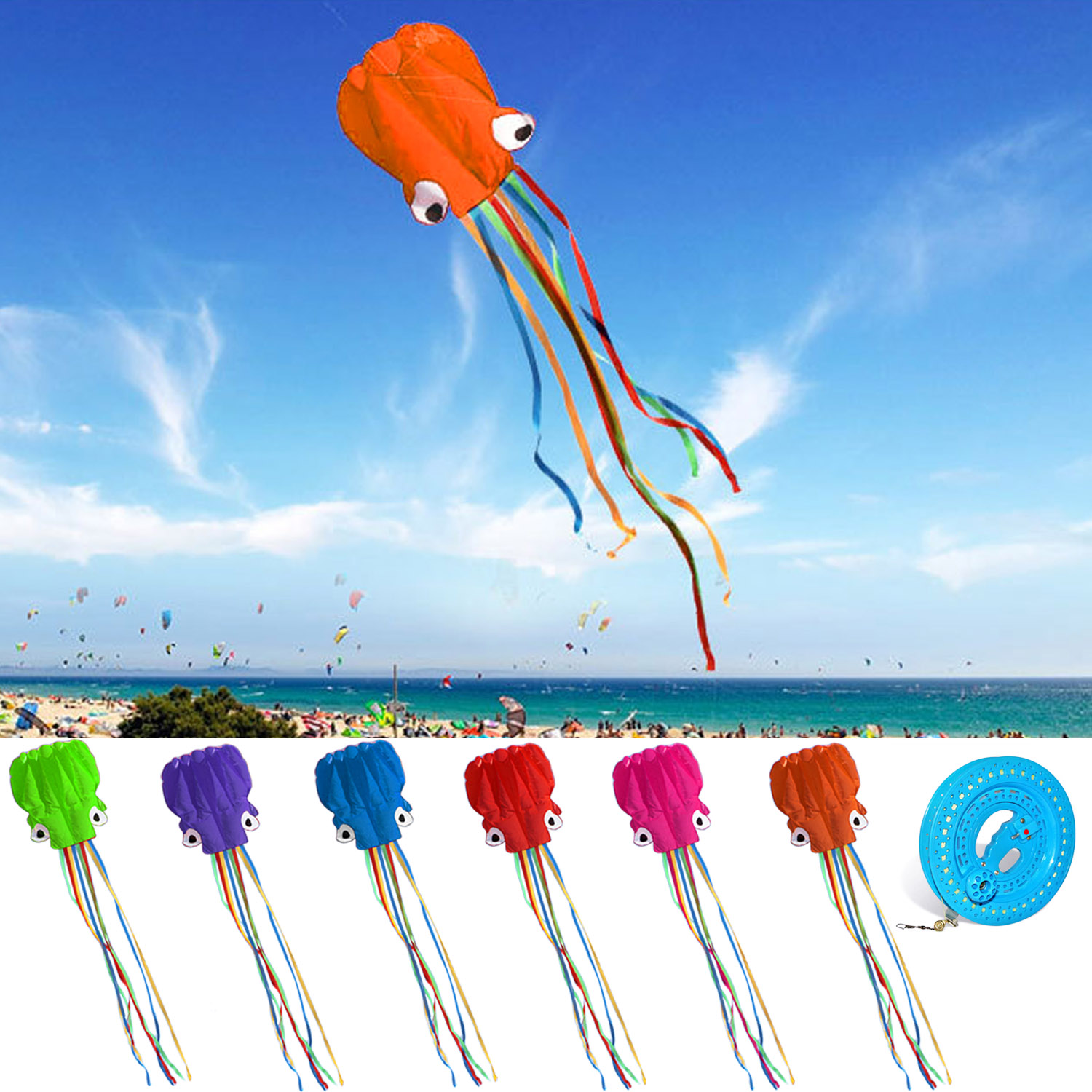 4m 13ft Length Large Soft Funny Cartoon Fish Octopus Kite Foldable Inflatable with 30m Flying String for Outdoor Sports 3m inflatable fish kite 4 colors beach kite flying for show outdoor activity