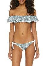 2016 Bandeau flower printing Ruffled Bikini Women Flounce Strapless Swimsuit Swimwear Women Bathing Suit Biquini Maillot