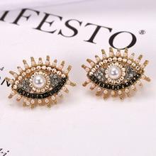 LEADERBEADS 2019 Vintage CZ Crystal Evil Eyes Beads Pendientes Earrings Women's Charm Eyelash Brincos Statement Jewelry Gift