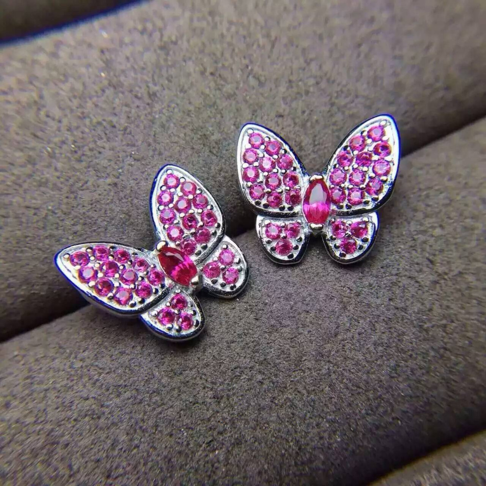 Natural red ruby gem jewelry sets natural gemstone ring Pendant Earrings 925 silver Elegant lovely heart butterfly fine jewelry faux ruby butterfly earrings