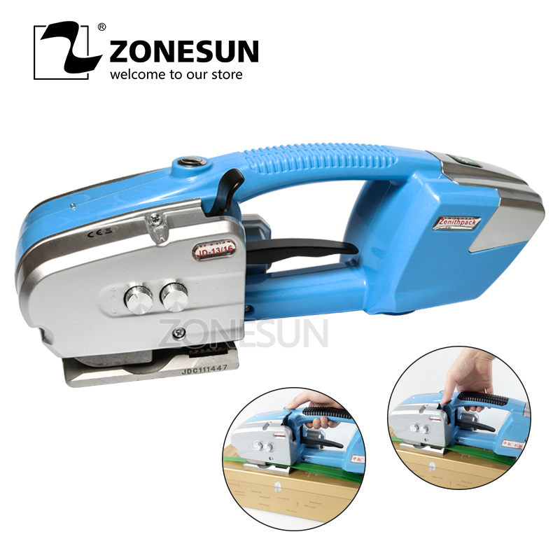 ZONESUN Portable Electric Battery Powered Plastic Strapping Tool Friction Welding Strapping Machine for PP or PET Strap цена