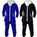 Adultos Unisex Onesies Pijamas Pijamas Onesies Sleepsuit Pijamas Para Hombre de Las Mujeres de Una Pieza de Algodón Negro/Azul