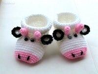 Botines de bebé  zapatos de bebé de vaca bonitos de ganchillo.