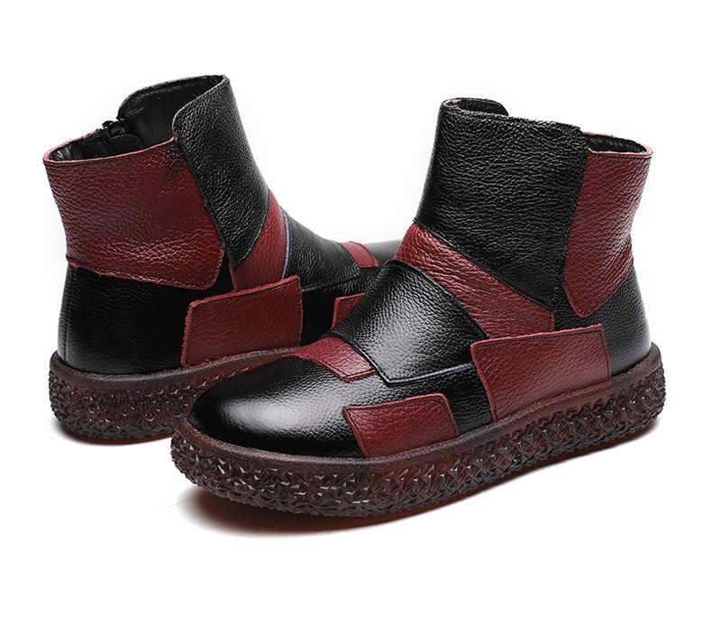 DONGNANFENG Mulheres Senhoras de Idade do Sexo Feminino Sapatos Mãe Vaca Botas de Couro Genuíno do Inverno da Pele Quente de Pelúcia Tornozelo Zip Tamanho 35- 41 MLD-8168