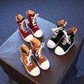 Invierno Nueva Muchacha de Los Niños Botas Planas Martin Botas de Mitad de la Pantorrilla-atado Cruz Color Camel Zapatos Causales Niño 26-30