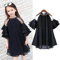 Подросток рукава с оборками шифоновые платья для девочек, одежда age68 10 12 14 16 лет 2018 новый большой праздничное платье для девочек детей vestido