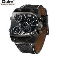 Oulm классические повседневные наручные часы крутые черные часы с тремя часовыми поясами мужские часы с большим циферблатом наружные спорти...