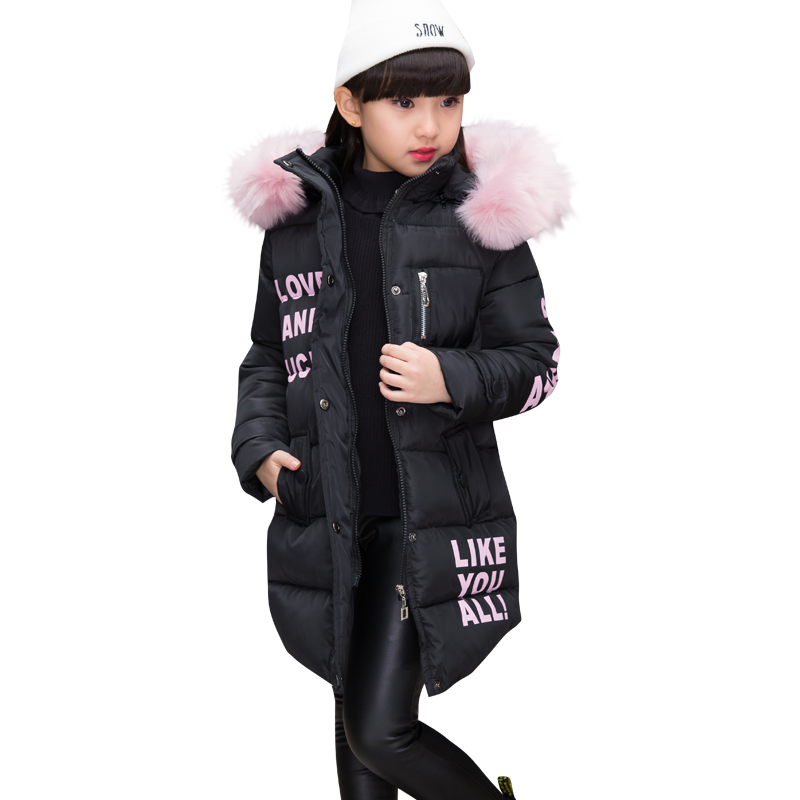 2019 Baby Girls Winter Warm Print Letter Jacket Kid Winter Cotton-padded Hooded Girls School Christmas Cute Fur Outwear