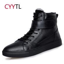 CYYTL/зимние кожаные мужские ботинки; теплые зимние ботинки; толстая мягкая обувь; водонепроницаемые повседневные ботильоны на шнуровке; модные черные ботинки; Bota Masculina