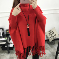 New Spring Autumn Winter Women 6 Solid Colors Pullovers Batwing Sleeve Jacket Sweater Shawl Fringed Tassel