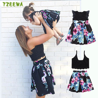 2018 New Mother And Daughter Dress Summer Floral Woman Girls Party Dresses Family Match Clothes Mom And Me Dress