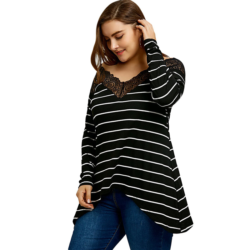 PlusMiss Plus Size 5XL Sexy Striped Lace Crochet Trimmed Tunci Top Big Size V Neck Long Sleeve Loose Blouse Shirt Women Clothing