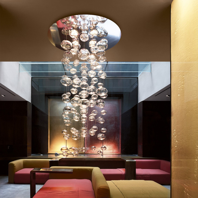 D100x H143CM Murano Due Bubble Glass Chandelier Ether 150 S by Patrick Jouin from Leucos LED Lighting Fixture