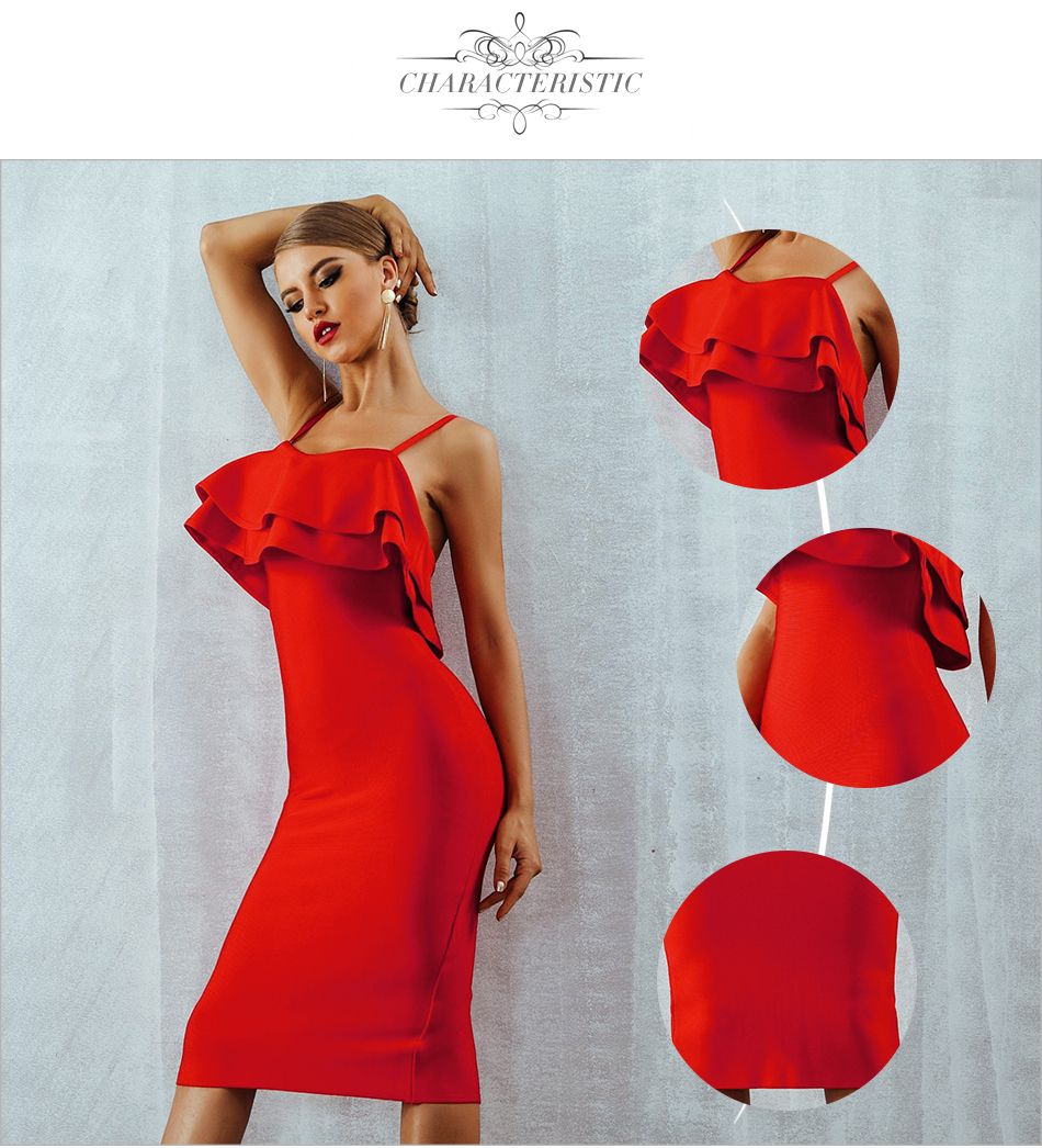 Adyce Women Bodycon Summer Red Bandage Dress 19 Spaghetti Strap Vestidos Strapless Ruffles Midi Celebrity Evening Party Dress 4