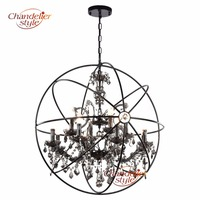 Retro Orb Crystal Chandelier Lighting Smoky Cristal Chandeliers Hanging Light Fixture for Living and Dining Room Decoration