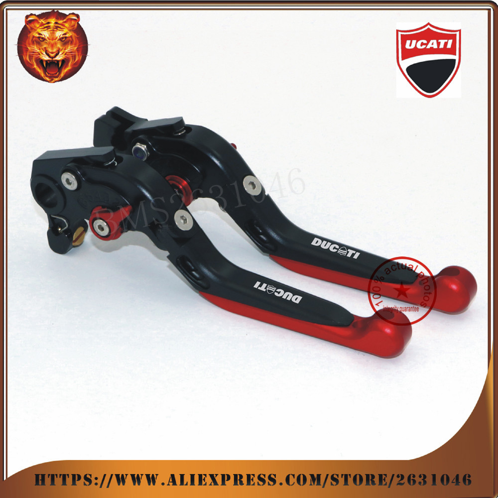 ФОТО  For  DUCATI Monster 821 HYPERMOTARD 821/Strada/base Motorcycle New Style Adjustable Folding Extendable Brake Clutch Leve red