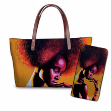 NOISYDESIGNS Ethnic Style Handbags Women 2pcs/set Shoulder Tote Bag Black Art African Girls Printing Purse&Hand Bags for Females