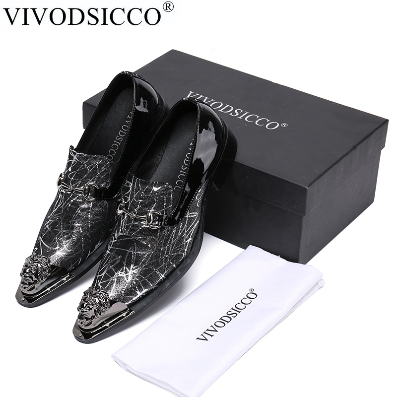 VIVODSICCO Italian Fashion Business Men Dress Shoes Genuine Leather Pointed Toe Wedding Formal Shoes Metal Toes Office Shoes new 2018 fashion men dress shoes genuine leather pointed toe male wedding shoes autumn men office formal shoes yj a0029