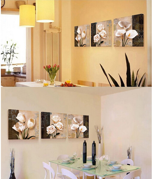 Top Selling 3 Pieces Canvas Wall Art Classic Flower Oil Painting ...