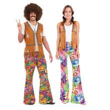 728a651e28ddf Erkek Kadın Hippi Kostüm Yetişkin Karnaval Parti 60 s 70 s Retro Hippie Go  Go Kız