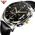 NIBOSI модные спортивные часы для мужчин водонепроницаемые военные часы с кожаным ремешком водонепроницаемые кварцевые мужские часы наручны...